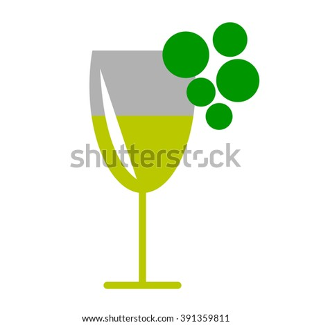 Vector illustration of wineglass and grape, isolated on the white background. Series of Food and Drink Object, Icons and Illustrations.