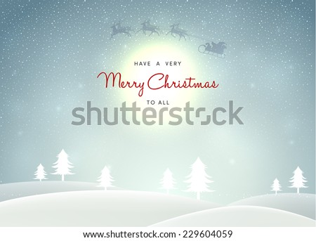 Vector illustration of Winter landscape with trees - stock vector