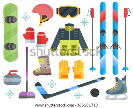 Vector illustration of winter sports. Winter sports equipment set: ski, curling, skates, clothes, helmet, goggles, mittens, sticks. Extreme sport equipment set. Isolated flat elements. Flat design - stock vector