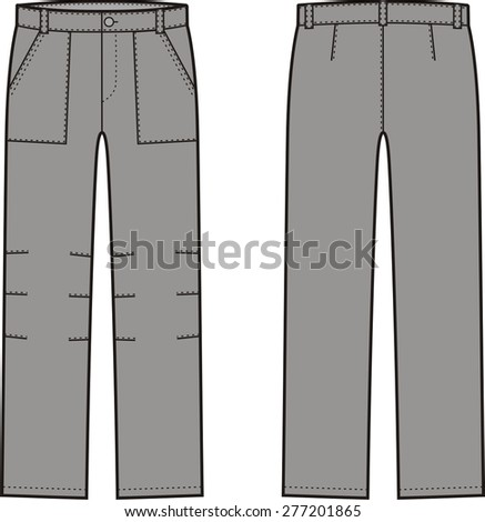 Vector illustration of winter work pants. Front and back views. Coveralls - stock vector