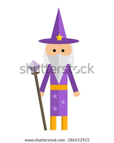 Vector illustration of wizard in purple robe on white background. - stock vector