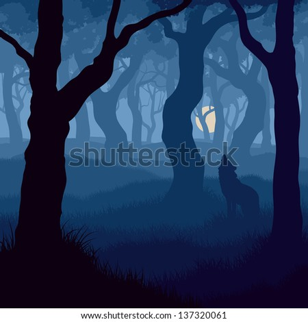 Vector illustration of wolf howling at moon in night forest. - stock vector