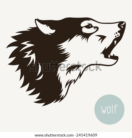 Vector illustration of wolf isolated on white - stock vector