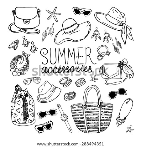 Vector illustration of woman accessories set. Hand-drown objects illustrations. Black and white fashion collection. - stock vector