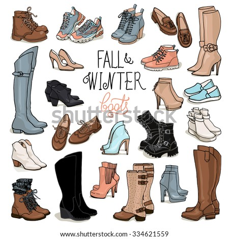 Vector illustration of woman fall and winter shoes, boots set. Hand-drown footwear illustrations. Fashion collection sketch. - stock vector