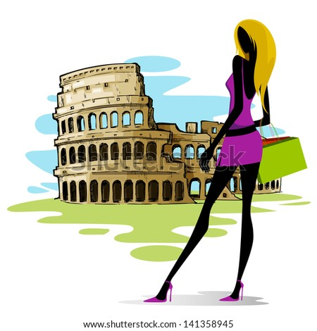 vector illustration of woman in front of Colosseum in Rome - stock vector
