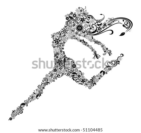 Vector illustration of woman in jump. Flower design. Summer or spring theme. - stock vector