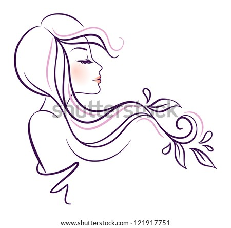 Vector illustration of woman line - stock vector