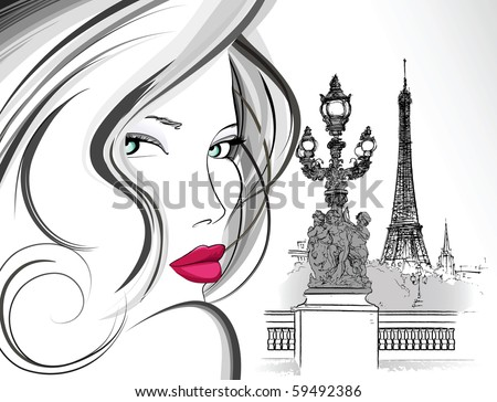 Vector illustration of woman on Alexander bridge in Paris (ink pen drawing) - stock vector
