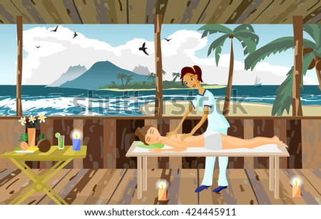 Vector illustration of woman pampering herself by enjoying day spa massage on the beach, back massage, wellness wooden salon in thailand, flat cartoon illustration - stock vector