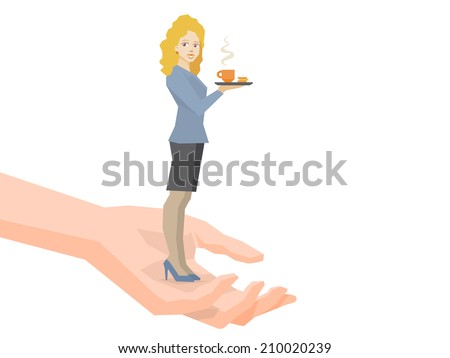 Vector illustration of woman portrait secretary with coffee in hand standing together on palm of the hand on white background - stock vector