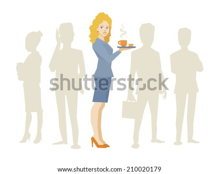 Vector illustration of woman portrait secretary with coffee in hand stands in the center on a background of silhouette business team of businesspeople - stock vector