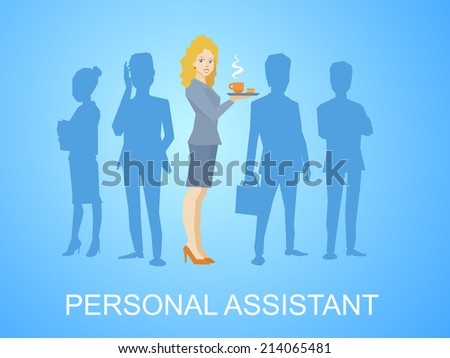 Vector illustration of woman portrait secretary with coffee in hand stands in the center on blue background of silhouette business team of businesspeople - stock vector