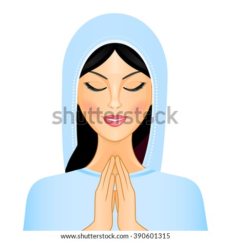 Vector illustration of woman praying - stock vector