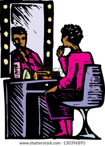 Vector illustration of woman putting on make up