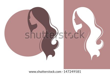 Vector illustration of Woman's silhouette with beautiful hair - stock vector