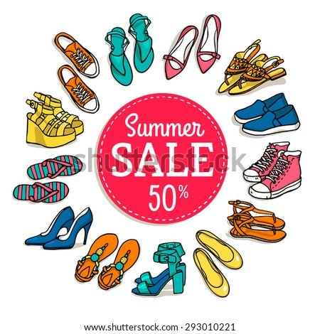 Vector illustration of woman shoes sale banner. Hand-drown objects illustrations. Spring-summer fashion collection. Shopping. - stock vector