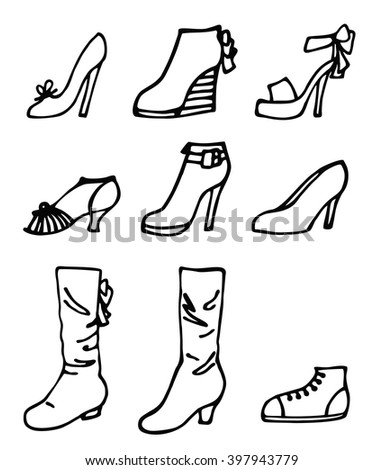 Vector illustration of woman shoes set. Hand-drown objects illustrations. Spring-summer fashion collection - stock vector
