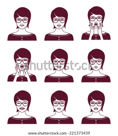 Vector illustration of woman with different facial expression - stock vector
