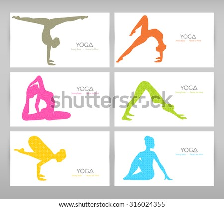 Vector illustration of Women doing yoga asanas - stock vector