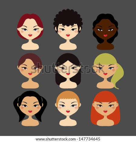 Vector Illustration of women faces. hair styles women.  - stock vector