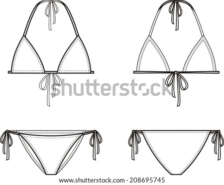 Vector illustration of women's bikini. Front and back views - stock vector