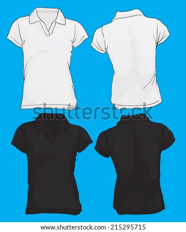 Vector illustration of women's polo shirt template in black and white color, front and back design
