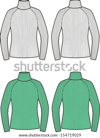 Vector illustration of women's sweater. Front and back views