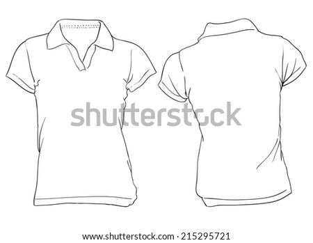 Vector illustration of women's white polo shirt template, flat color with outline, front and back design - stock vector