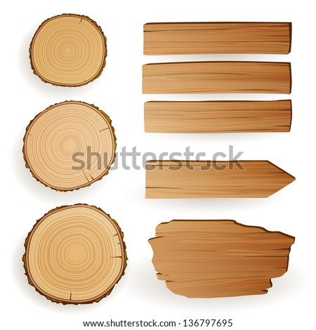 Vector Illustration of Wood Material Elements - stock vector