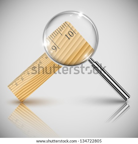 Vector illustration of wood ruler and a magnifier
