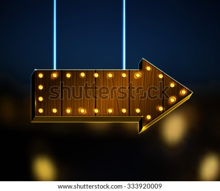 Vector illustration of wooden arrow sign with lighting bulbs on a dark  blue night background. Useful illuminated abstract backdrop for a retro postcard, poster, banner or invitation design. - stock vector