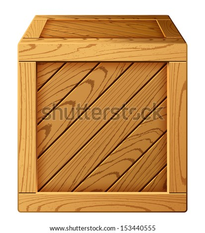 Vector illustration of wooden box icon - stock vector