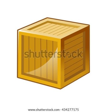 Vector illustration of wooden box icon isolated - stock vector