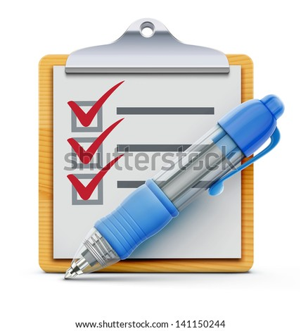 Vector illustration of wooden clipboard with check list and detailed blue ballpoint pen isolated on white background.