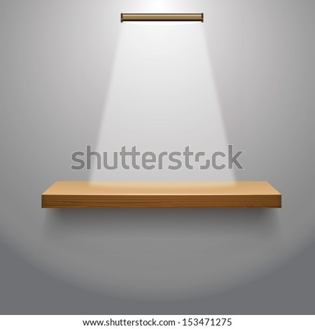 Vector illustration of wooden  empty shelf for exhibit  with a lamp  - stock vector