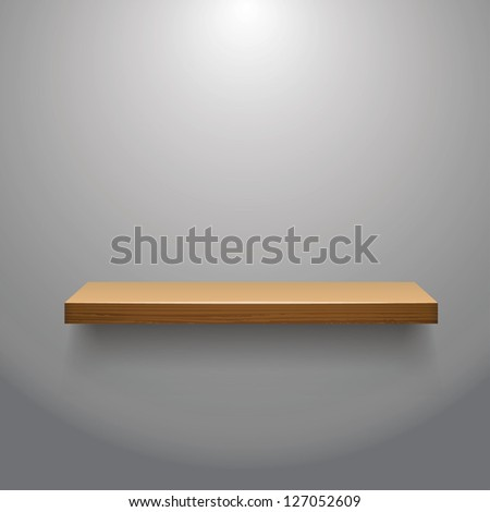 vector illustration of Wooden  empty shelf for exhibit with a soft light - stock vector