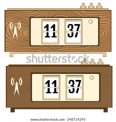 vector illustration of wooden flip clocks - stock vector
