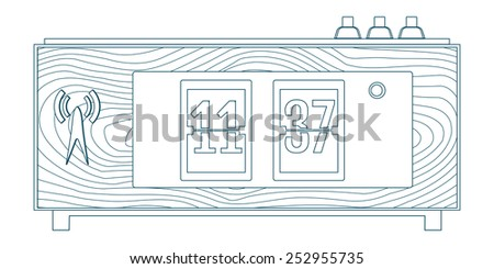 vector illustration of wooden flip clocks, line icon - stock vector