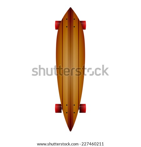 Vector illustration of wooden longboard. Leaf form wooden longboard with brown lines and red wheels. Single isolated vector illustration on white background. - stock vector