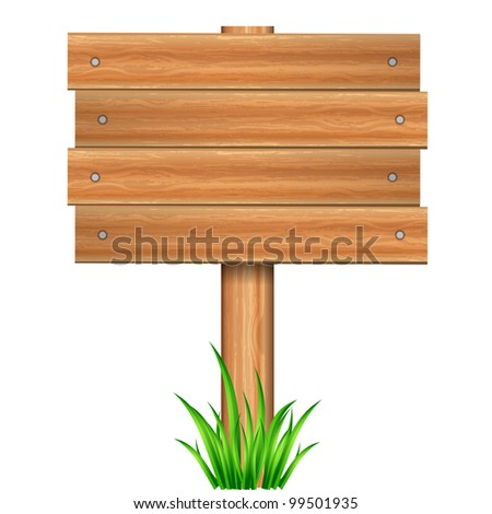Vector illustration of wooden sign in grass - stock vector