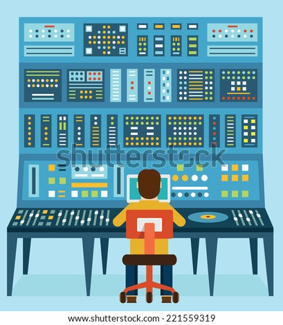 Vector illustration of work place sound engineer's. Mixing console. Analog synthesizer - vector illustration - stock vector