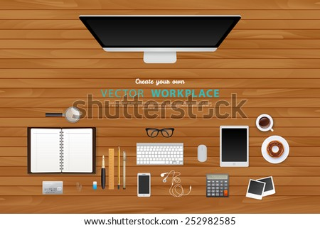 Vector illustration of Workplace with isolated objects - stock vector