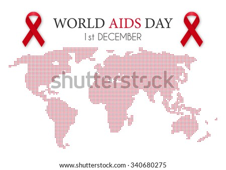 Vector illustration of world aids day. World map. - stock vector