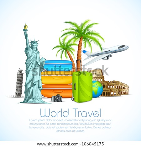 vector illustration of world famous monument with luggage and airplane - stock vector