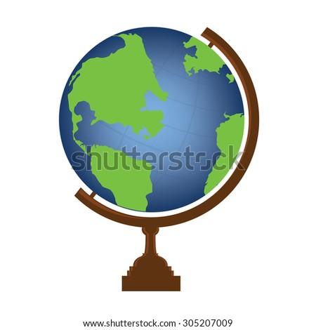 Vector illustration of world globe. Globe icon. School globe. Earth globe.  - stock vector