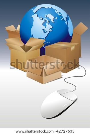 vector illustration of world globe with boxes and mouse - stock vector