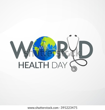 Vector Illustration of World health day concept text design with doctor stethoscope. - stock vector