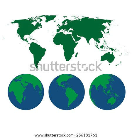 vector illustration of world map and three globes - stock vector