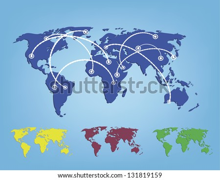 vector illustration of world map in colors - stock vector